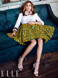 Olivia Palermo in Michael Kors Shirt + Skirt & Gianvito Rossi Sandal - Elle Germany March 2015