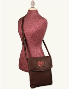 Heirloom Rose Leather Messenger Bag