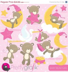 80% OFF SALE Baby girl bear clipart commercial use baby bear vector graphics digital clip art digital images - CL773