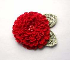 Red crochet flower brooch, red crochet brooch, flower brooch, handmade, crochet, pin accessory, corsage, wedding, mother of the bride
