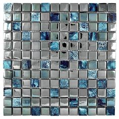 MyGift Metallic Grey and Blue Tones Modern Artistic Glass and Ceramic Mosaic Tiles: Amazon.co.uk: DIY & Tools