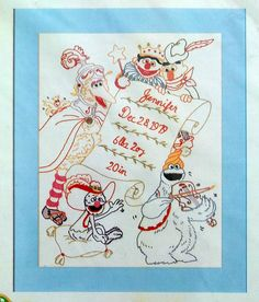 Vintage Vogart Stamped Sesame St Birth Sampler Muppets for Embroidery 1979 NIP | eBay