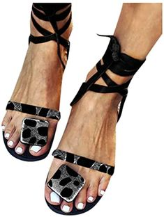 Chic Sandals for Women Platform,Women Gladiator Sandals Flat Summer Leopard Print Strappy Lace Up Open Toe Knee High Flat Sandal leopard print sandals. ($17.59) findtopgoods from top store
