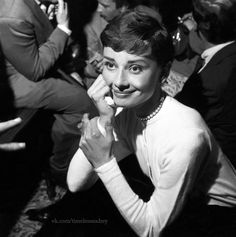 timelessaudrey:  Audrey attending to a press conference for the movie War and Peace,April 1955