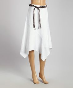 Take+a+look+at+the+Joy+Mark+White+Belted+Handkerchief+Skirt+-+Women+on+#zulily+today!