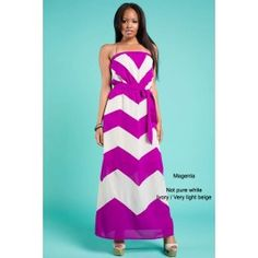 Magenta Chevron Strapless Maxi Dress $39.99