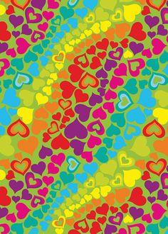 Papel regalo lluvia corazones colores