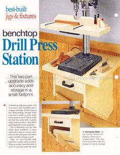 #1456 Drill Press Stand Plan - Drill Press Tips, Jigs and Fixtures