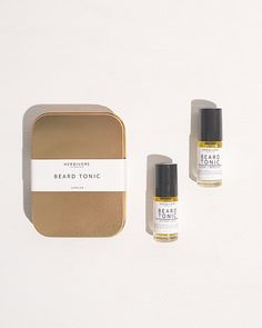 This gift set of two beard tonics includes light, natural scents that men (and women up-close) can enjoy. Beard Oil, Acne Treatment, Skin Care, Cosmetics, Beauty, Natural Living, Stylish Men, Business, Packaging Design