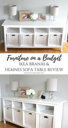 IKEA BRANÄS AND HEMNES SOFA TABLE | furniture on a budget | farmhouse, white, chic, glam, rustic home decor & design ideas