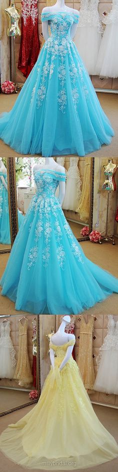 Lace Prom Dresses Long, Blue Prom Dresses For Teens 2018, Princess Formal Party Dresses Off-the-shoulder, Tulle Evening Pageant Dresses Appliques Beautiful