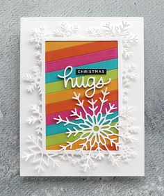 Strip Cards, Holiday Cards, Christmas Cards, Christmas Sentiments, Simon Says Stamp Blog, Rainbow Card, Winter Cards, Ink Pads, Happy Colors