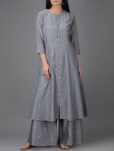 Buy Grey Button down Chanderi Kurta Shell: Lining: Cotton Women Kurtas Online at Jaypore.com