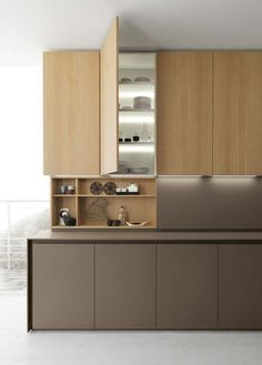 Light inside cabinets.