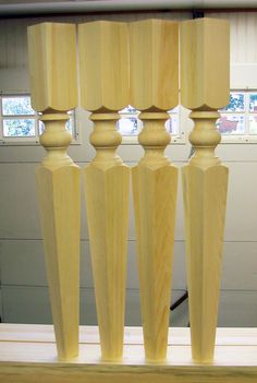 "3 1/2"" x 29"" wood table legs.  Our Georgian pattern."