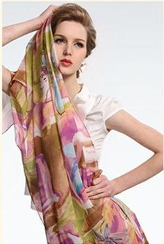 Print long design silk scarf,Spring and autumn women's mulberry silk scarf ,Air-conditioning shawl,Famous brand women's wrap
