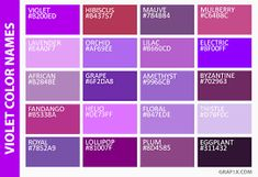 Image Result For List Of Purple Colors Colour Board Color Combinations