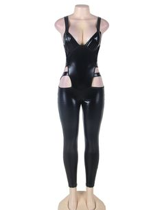 RT80270 Faux leather black sexy full bodysuit hollow out erotic women jumpsuits sleeveless sexy clubwear jumpsuit romper