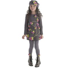 How does her garden grow? Beautifully, when she wears this elegant ponte knit dress embellished with three dimensional flowers and embroidered vines. Kids Winter Fashion, Kids Fashion, Dope Outfits, Kids Outfits, Little Girl Dresses, Girls Dresses, Fashion Niños, Girls Knitted Dress, Knit Dress