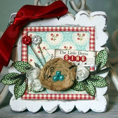 love the birds nest out of pattern paper ~Bird Nest Shabby Chic Album~ New Maya Road Album - Two Peas in a Bucket