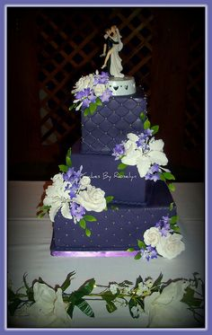 purple quilted wedding cake