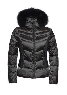 Goldbergh Kitsune Black Ski Jacket with Fur Hood Ski Fashion, Winter Fashion, Chica Punk, Black Ski Jacket, Fall Winter 2017, Ski Sport, Snow Wear, Ski Gear, Skiing