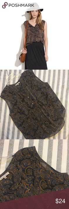 """[Madewell] Paisley Moon Blouse- S Love this blouse! 100% silk, allover paisley print with flowing romantic fit. Broadway and Broome sheer, button down, brown and caramel design. Size S- laid flat 20.5"""" pit to pit and 22"""" length. No tears or stains or signs of wear. No trades. Thank you! Madewell Tops"""