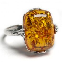 Cognac Amber and Silver Fancy Rectangle Ring