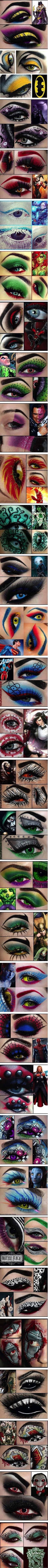 Comic book inspired/cosplay eye makeup. Difficulty level for most of them look way harder than I could do myself