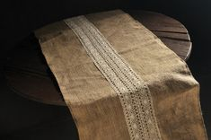 50cm  2.5m Jute Runner with Cotton lace by CraftWanted on Etsy