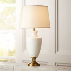Regency Hill Joan White Glass and Brass Table Lamp - #9Y843 | Lamps Plus