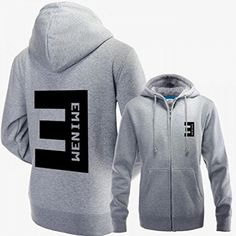 Eminem Zip-up Hoodie Jacket with BIG E Logo on the Back