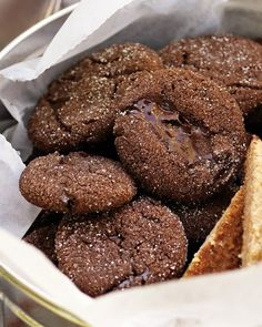 Double-Chocolate Brownie Bites    Cocoa powder and semisweet chocolate give these one-bite cookies their deep flavor.