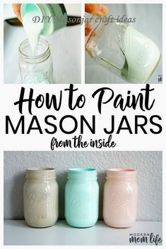 How to paint mason jars from the inside. This easy mason jar project makes great decor pieces for the home. A simple way to paint mason jars from the inside. A step-by-step guide to creating Mason Jar centerpieces for events and home. Chalk Paint Mason Jars, Painted Mason Jars, Mason Jar Painting, Spray Painted Bottles, Glitter Mason Jars, Hanging Mason Jars, Diy Painting, Mason Jar Projects, Mason Jar Crafts