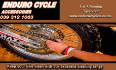 Keep your bike clean and prolong its life span!  At Enduro Cycles we stock and supply a wide selection of cleaning products. We can all agree that going for a ride on the weekend can very easily lead to a dirty bike. Never leave your motorbike in this condition as it may cause serious damage such as rusting when not dried off correctly.  Feel free to get in touch with us for any more information on what to use and how to use it.  Phone: 039 312 1063   Email: Info@EnduroCycles.co.za… What To Use, Riding Gear, Cleaning Products, Motorbikes, Keep It Cleaner, Safety, Conditioner, Touch, Phone