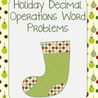 This 3 page worksheet has 12 decimal operation holiday word problems. Most focus on multiplication with decimals.   Also available as part of my Ho...