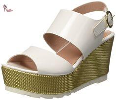 Pollini  8231, Wedges sandales femme - multicolore - Multicolore (White Patent Pu-Gold Mesh Pv), 37 EU EU - Chaussures pollini (*Partner-Link)