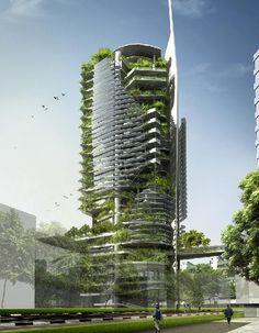 """>Atualmente, enquanto se aguarda a construção em Cingapura, o EDITT Tower será um modelo de """"Efarmacológicos Design Eun Tele Tropics """". Projetado por TR Hamzah & Yeang e patrocinado pela Nat..."""