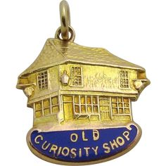 Vintage 9ct. Gold Old Curiosity Shop Holborn London Charm Pendant 1961 from charmalier on Ruby Lane