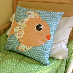 Blue and Orange Applique Fish Pillow for Child Bedroom Decor. $36.00, via Etsy.