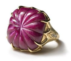 STAR RUBY TRELLIS RING  26.2 ct. hand-carved ruby with hand-engraved diamond encrusted fleur de lis in 18k yellow gold.