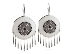 Miriam Salat - Fringe Earrings.  Add a little Southwestern Summer flavor to your outfit with ourFringe earrings. The mother of pearl resin is adorned with cabachons and sterling silver and CZ fringe detail.