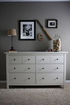 I love the jar filled with baseballs, could do any other sport as well. How cute for a little boys room?!