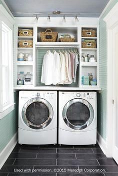 Decora's Daladier cabinets are perfect for creating the ultimate utility room, complete with space-saving design guaranteed to keep any laundry room clean and tidy. See our feature in @bhg Storage.   Used with Permission. ??2015 Meredith Corporation.