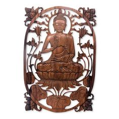 Wood relief panel, 'Meditating Buddha' - Hand Carved Balinese Buddha Relief Panel for the Wall