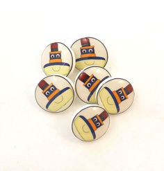 6 SMALL Tugboat Buttons   Boat handmade buttons  by buttonsbyrobin, $11.50