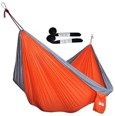 CUTEQUEEN TRADING Double Nest Parachute Nylon Fabric Hammock With Tree strapsColorOrangeGrey >>> More info could be found at the image url. Note: It's an affiliate link to Amazon
