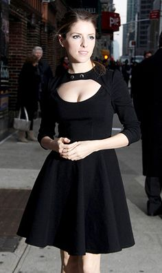 Anna Kendrick wore a dress with a peekaboo cutout heading into The Late Show With David Letterman's NYC studios.