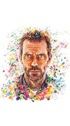 Hugh Laurie for TV Guide. A mosaic portrait of Hugh Laurie(Dr. House) made out of pills for the cover of TV GUIDE Magazine(USA) Art And Illustration, Illustrations, Hugh Laurie, Photoshop Tutorial, Gregory House, Mosaic Portrait, Collage Portrait, House Md, Graphic Art