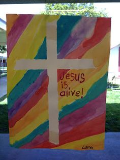 Apples and ABC's: Easter Cross with water color over painters  tape- could be used for most biblical story